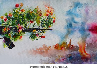 This is a painting of a gun flowered. The material is watercolor on paper.
