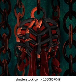 this piece features a heart trapped in a cage leaking blood and hanging from chains might be good design for mug t-shirt or canvass