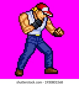 This is pixel art designed by a male fighter in a cap.