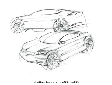 This is realistic painting sketch of uncoloured car. The car is concept sketch with dynamics lines.