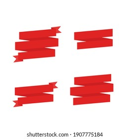 This is a red ribbon. Set of red tape on with background. Could be used for flyers, banners, postcards, holiday decorations.