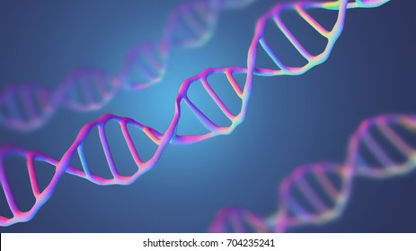 This scene viewed under a microscope the molecules DNA on a the Blue background. The Concept molecular biology and biotechnology, Deoxyribonucleic acid genomes. 3D rendering.