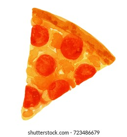 This is a watercolor painting of a slice of pizza.