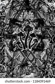 This work name is mushroom spirit. Magic mushrooms, snake and fly inside this art work.