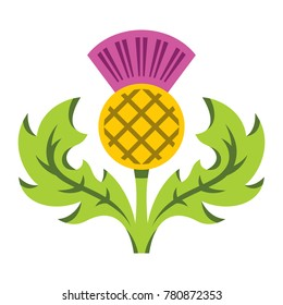 Thistle. Flat style colorful Cartoon illustration.
