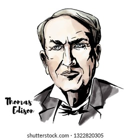 Thomas Edison watercolor portrait with ink contours. American inventor and businessman, who has been described as America's greatest inventor.