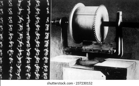 Thomas Edison's first motion picture machine which recorded pictures on a cylinder, 1888.