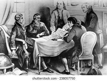 Thomas Jefferson, Roger Sherman, Benjamin Franklin, Robert Livingston and John Adams, 1776
