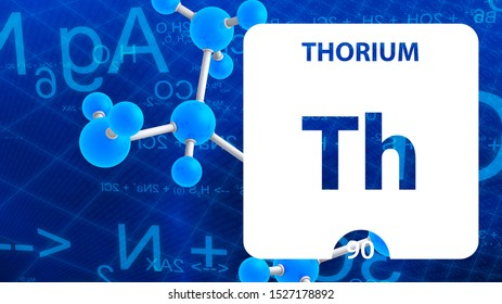 Thorium Th, chemical element sign. 3D rendering isolated on white background. Thorium chemical 90 element for science experiments in classroom science camp laboratory. laboratory, science concept