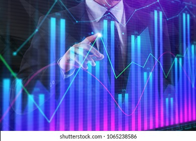 Thoughtful businessman with glowing forex chart. Fund management, finance and trade concept. Double exposure