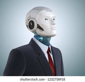 Thoughtful robot in suit. 3D illustration