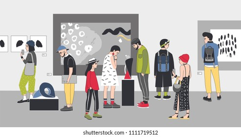 Thoughtful visitors of contemporary art gallery viewing exhibits. Pensive people dressed in stylish clothing looking at paintings and sculptures at exhibition. Colorful cartoon illustration