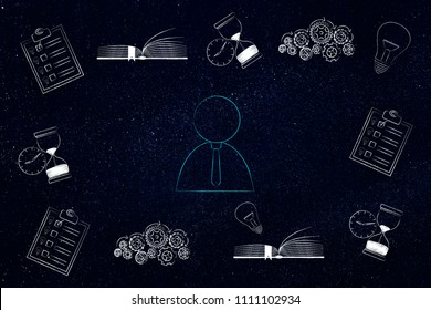 thoughts and memory conceptual illustration: business man surrounded by memory-related icons from to do lists and light bulbs to gearwheels and books