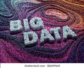 Thousands bar graphs forming words big data. Big data concept.