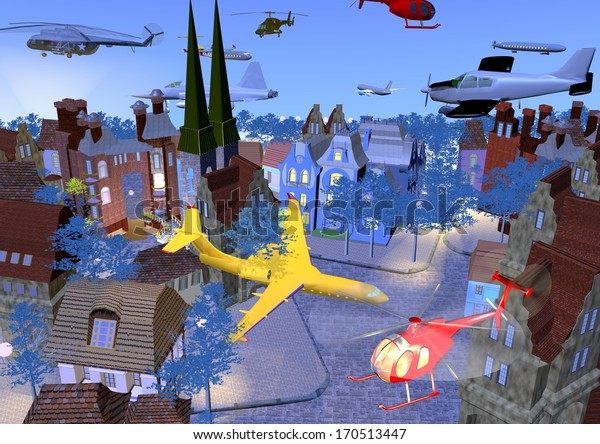 thousands of planes and helicopters are flying over a small historical city, bright colors over a blue background, 3D illustration, raster illustration