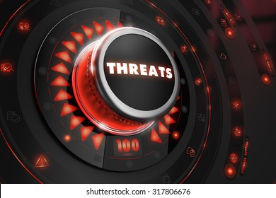 Threats Controller on Black Control Console with Red Backlight. Danger or Risk Control Concept.