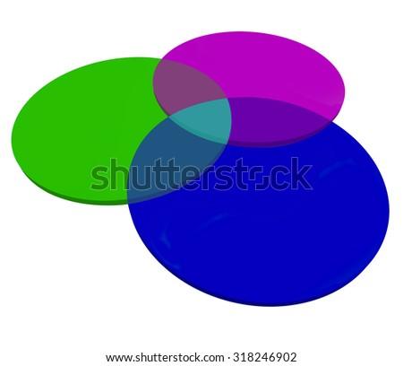 Three 3 Venn Diagram Overlapping Circles Stock Illustration