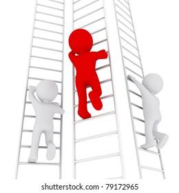 three 3D men climbing up the ladders