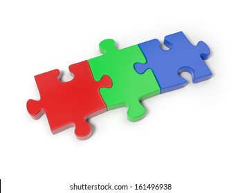 Three 3d puzzle pieces on the whole puzzle