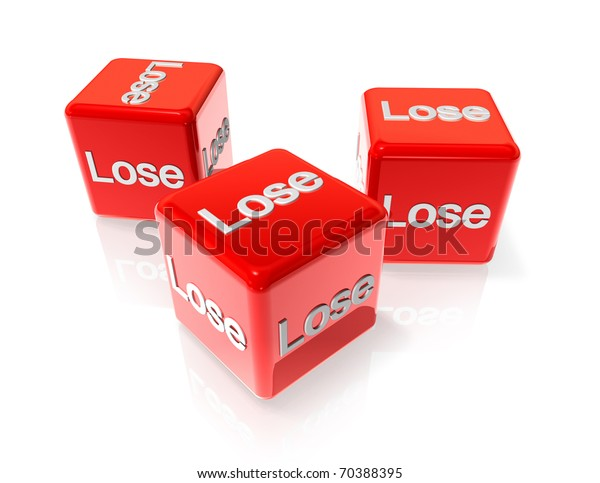 three 3D red dices with lose text on all sides
