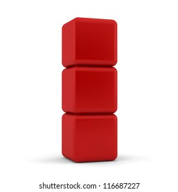 Three 3d simple red cubes with blank faces and equilateral sides that are bevelled , rounded and shaped stacked one on top of the other in a tower formation on a white background