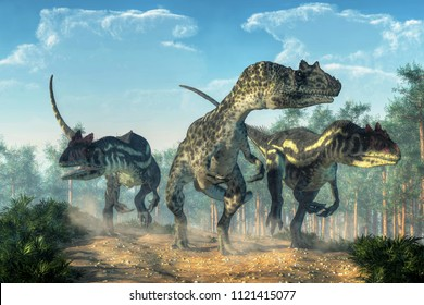 Three allosauruses kick up dust as they hunt along a rocky track created by the passage of large dinosaurs.  Three hunters on the prowl. 3D Rendering
