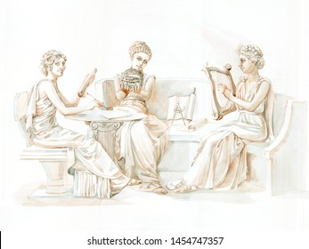 three ancient Greek muses painted in watercolor. goddess in tunics