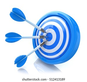 Three arrows in the center of a blue target. Image suitable for illustration of strategic business solutions or corporate strategy purpose, success of the business and not just. 3d illustration