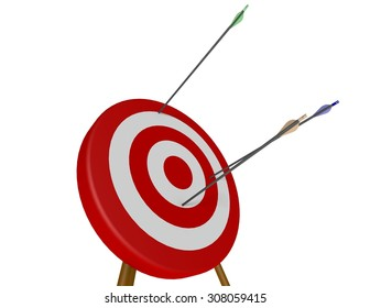 Three arrows fired at an archery target missing the bulls-eye