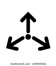 Three Arrows Point/Triple Collide Arrows/Merge Directions Single Icon