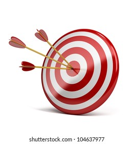 three arrows in target. 3d image. Isolated white background.