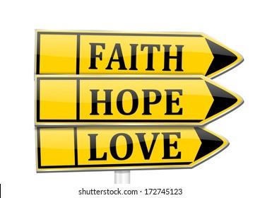 Three arrows with the words faith, hope, love - illustration