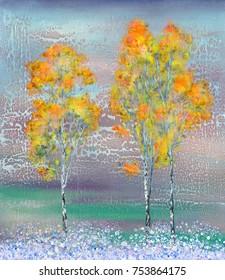 Three autumn trees and evening snowfall