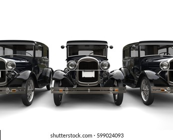 Three beautiful 1920s vintage cars - front view cut shot - 3D Render