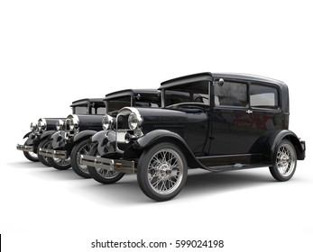 Three beautiful 1920s vintage cars - perspective shot - 3D Render