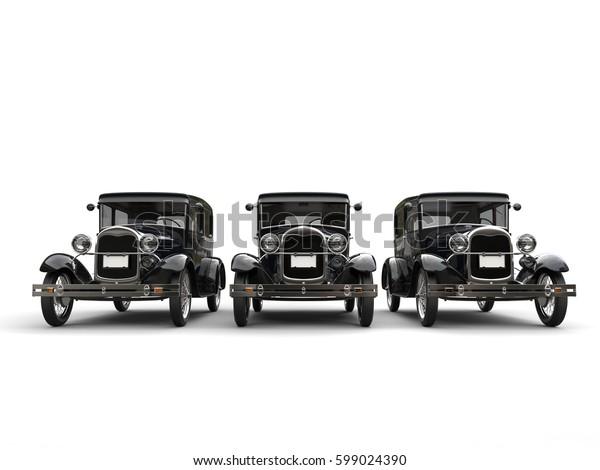 Three beautiful 1920s vintage cars - 3D Render