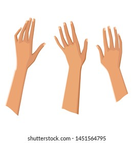 Three beautiful female hands. Hands up. Natural manicure. Isolated on white background