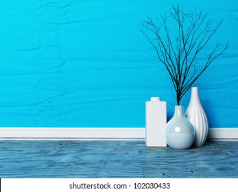 three beautiful vases with the  branches in the interior
