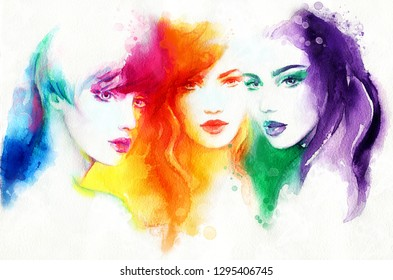 three beautiful women with fashion make-up and hair. fashion illustration. watercolor painting