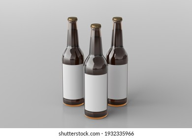 Three beer bottles 500ml mock up with blank label on white background. Side view. 3d illustration