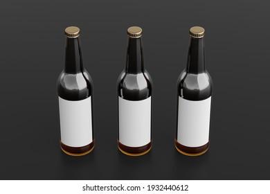 Three beer bottles 500ml mock up with blank label on black background. Side view. 3d illustration