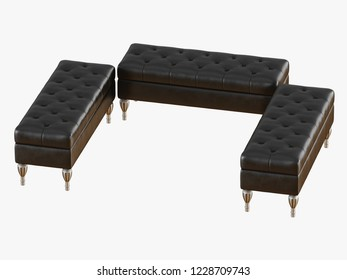 Three bench capitone black 3d rendering