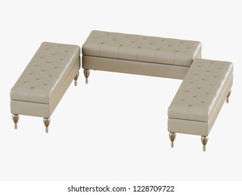 Three bench capitone ivory color 3d rendering