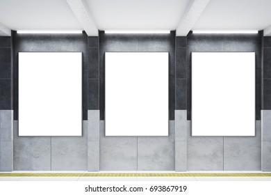 Three big vertical poster on metro station. 3d rendering