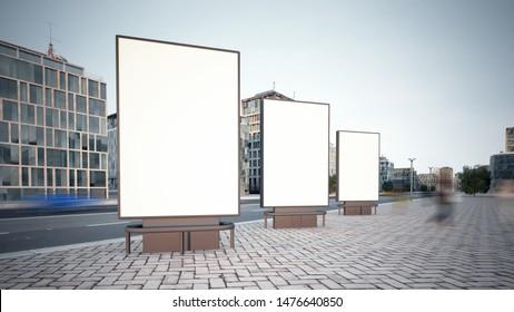 three billboard mockup at city street 3d rendering