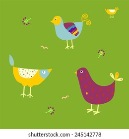 Three birds. Set of different cute birds.