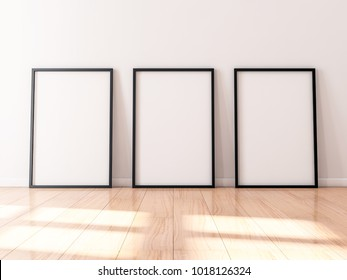 Three black Frames Mockup with poster canvas standing on wooden floor, 3d rendering
