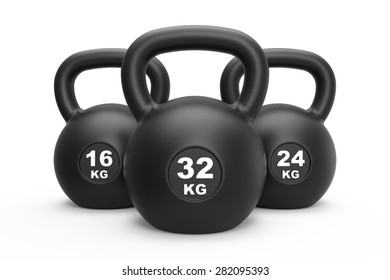 Three black kettlebell 16, 24 and 32 kg