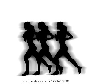 three black Silhouette of sporty running women. isolated on white background.  illustration.