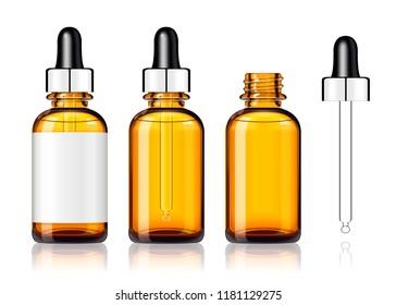 Three blank droplet bottles mockup on white background in 3d illustration